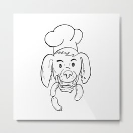 Chef Dog Biting Sausage String Cartoon Black and White Metal Print