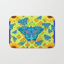 Blue Moths Sunflowers Lime Green Spring Art Bath Mat