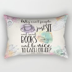Why Can't People Just Sit And Read Books - Bookish Design Rectangular Pillow