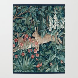 William Morris Forest Rabbits and Foxglove Poster