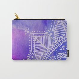 Mandala flower on watercolor background - purple and blue Carry-All Pouch