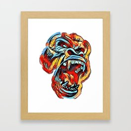 Funky Angry Gorilla in Primary Colors Framed Art Print