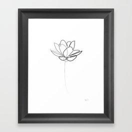 One line Lotus B&W Framed Art Print
