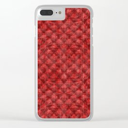 Quilted Bright Red Velvety Design Clear iPhone Case