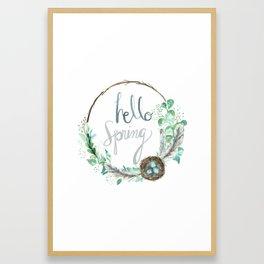 Hello Spring Eucalyptus Wreath with Nest Framed Art Print