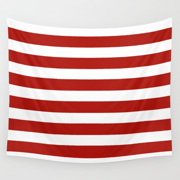 Red & White Maritime Stripes- Mix & Match with Simplicity of Life Wall Tapestry
