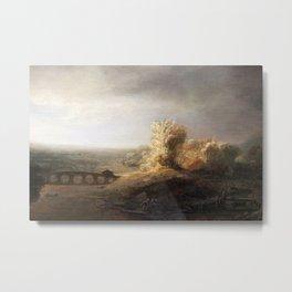 Govert Flinck - Landscape with a seven arched bridge Metal Print
