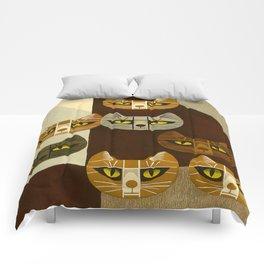 Cat Pattern Japanese, Cat, Cubism, Woodblock Print, Cherry Blossom, Midcentury, Modern Comforters