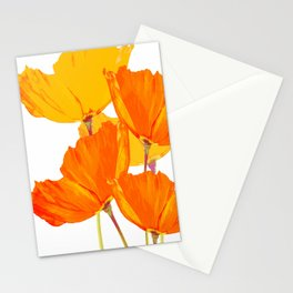 Orange and Yellow Poppies On A White Background #decor #society6 #buyart Stationery Cards