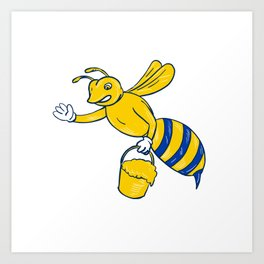 Bumblebee Waving With Honey Drawing Art Print