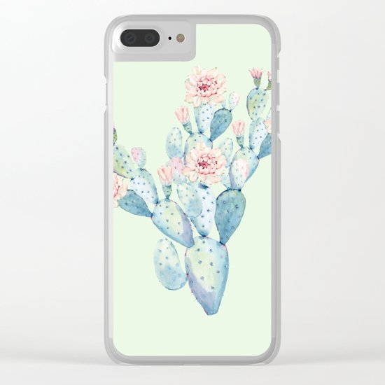 Rose Desert Cactus Mint Green + Pink by Nature Magick Clear iPhone Case