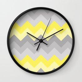 Yellow Grey Gray Ombre Chevron Wall Clock