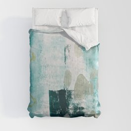 023.2: a vibrant abstract design in teal green and yellow by Alyssa Hamilton Art  Comforters