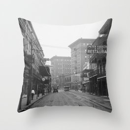 St. Charles Street from Canal, New Orleans, LA Throw Pillow