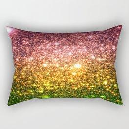 Pink Gold Green Galaxy Sparkle Rectangular Pillow