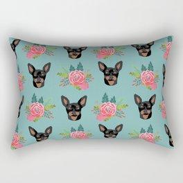Min Pin miniature doberman pinscher dog breed dog faces cute floral dog pattern Rectangular Pillow