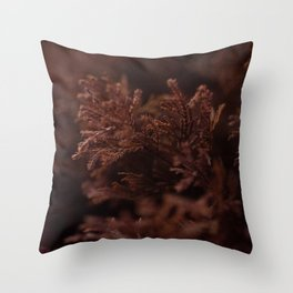 Red Winter Leaves, Georgia Forest Throw Pillow