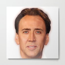 Nicolas Cage Face | Funny Meme | Nic Cage Face Shirt | Gift For Men, Woman  Metal Print