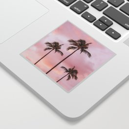 Palm Tree Photography | Landscape | Sunset Unicorn Clouds | Blush Millennial Pink Sticker