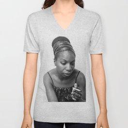 Nina Simone Art Print - Black Culture - Black History Unisex V-Neck