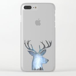 Deer in the Arctic Stary Night Clear iPhone Case