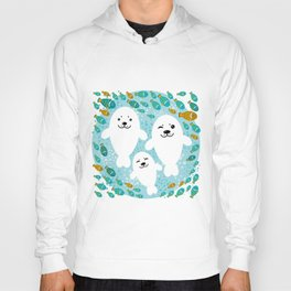 happy family of white seals and fish on a blue background. Hoody