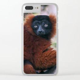 Red Ruffed Lemur Clear iPhone Case