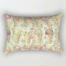 Cream & Flowers Rectangular Pillow