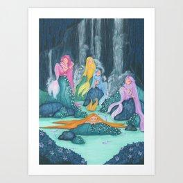 Mermaids having a break - A illustration of mermaids having a good time Art Print