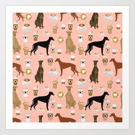 Greyhound coffee dog breed illustration dog art custom dog breeds groundhound rescue dog lovers Art Print