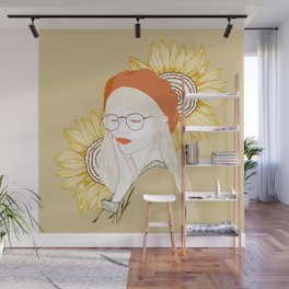 Sunflower Girl with Glasses Wall Mural