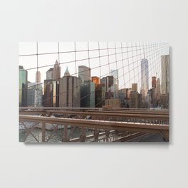 Crossing the Brooklyn Bridge Metal Print