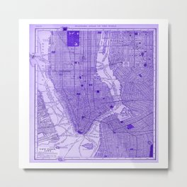 New York Vintage City Map Throw Pillow Metal Print
