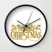 merry christmas Wall Clocks featuring Merry Christmas by Better HOME