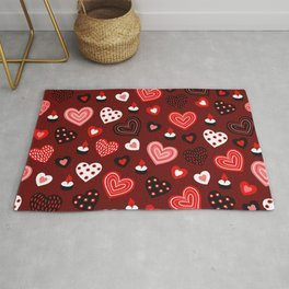 Valentine Hearts and Votive Candles Rug