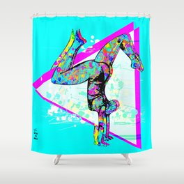 Tri Stand Blue Shower Curtain