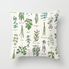 Herbs Collection Pattern Throw Pillow