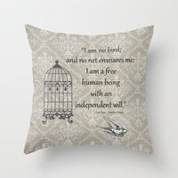 jane eyre Throw Pillows featuring Jane Eyre: I am no bird by AfterThisChapter