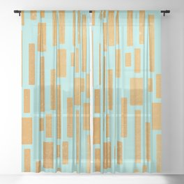 Abstract Bamboo Turquoise Gold Mid-Century Sheer Curtain