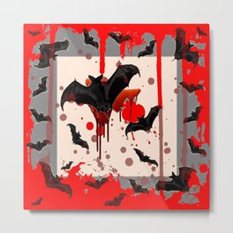 FLYING VAMPIRE BLACK BATS & HALLOWEEN BLOODY ART Metal Print