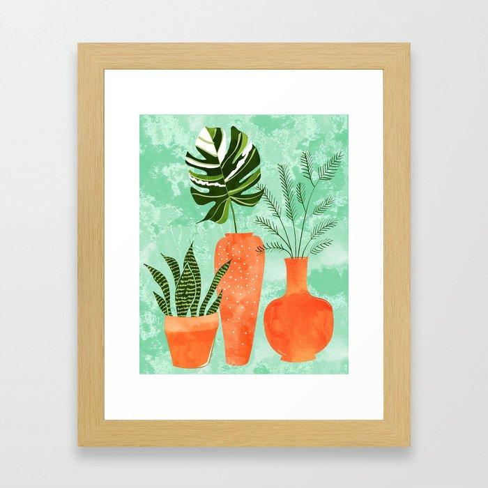 Water My Plants #painting #illustration Framed Art Print