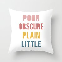 jane eyre Throw Pillows featuring Jane Eyre by LitPrints