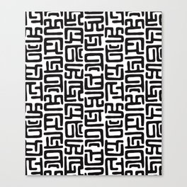 Black And White African Abstract Shapes Canvas Print