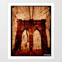 brooklyn bridge Art Prints featuring Brooklyn Bridge by Del Vecchio Art by Aureo Del Vecchio