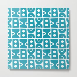 Funky Mid Century Modern Pattern Turquoise Metal Print