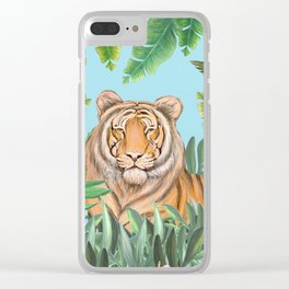 Tropical tiger jungle, tropical flowers Clear iPhone Case