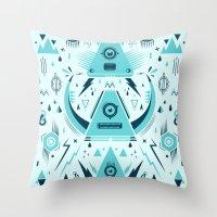 transformer Throw Pillows featuring Triangle Alien Transformer Attack  by badbugs_art