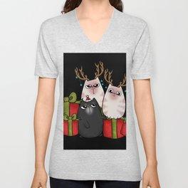 Christmas Cat Gifts Presents Reindeer Antlers Unisex V-Neck