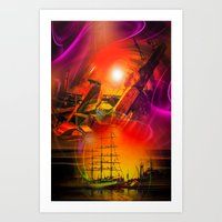 Sailing romance 12 Art Print