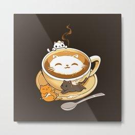 Latte Cat Metal Print